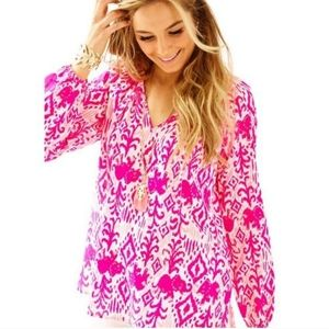 Lilly Pulitzer Willa Top Tons of Fun Elephant Top